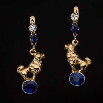 antique poodle motif earrings