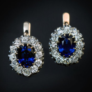 antique sapphire diamond cluster earrings
