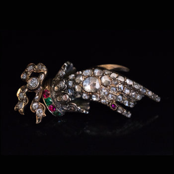 antique Georgian jewelry - diamond ruby emerald gold hand brooch