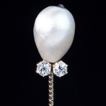 Faberge natural pearl and diamond stickpin