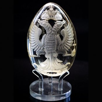 Antique glass egg with Russian Imperial eagle
