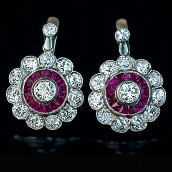 antique diamond and ruby earrings