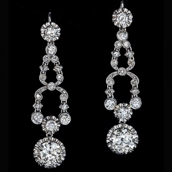 Art Deco vintage diamond earrings