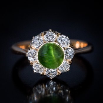 Russian cat's eye demantoid and diamond ring