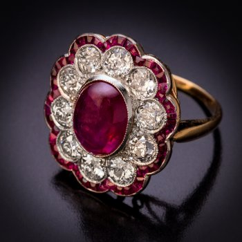 Antique ruby and diamond ring with unheated Burma rubies