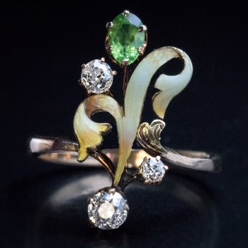 Art Nouveau jewelry - gold, enamel, demantoid and diamond flower ring
