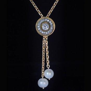 antique pearl diamond gold necklace