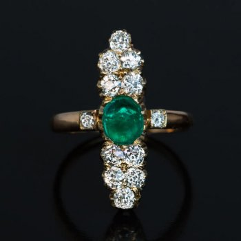 antique cabochon cut emerald and diamond ring