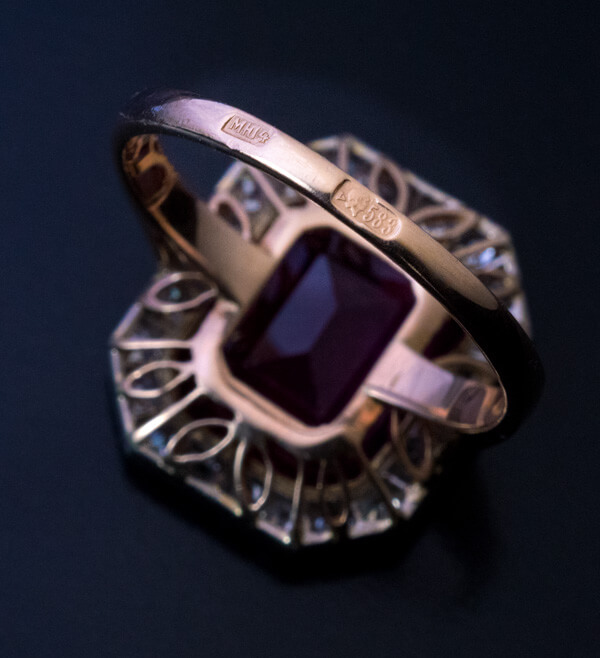 Art Deco Vintage Carved Ruby Diamond Cameo Ring - Antique