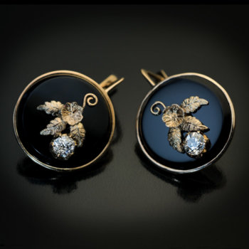 Victorian black onyx and diamond earrings