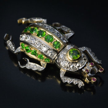 demantoid garnet beetle pin