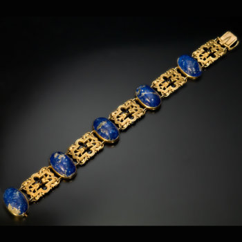 lapis and gold antique bracelet