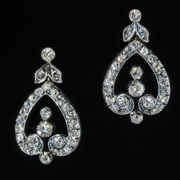 antique early 1900s edwardian diamond dangle earrings