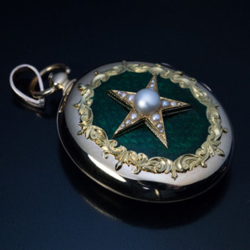 antique 1800s guilloche enamel locket pendant