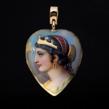 antique enamel Cleopatra locket pendant