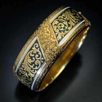 antique Victorian engraved gold and enamel cuff bracelet