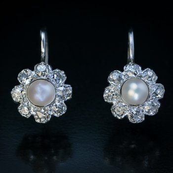 vintage pearl and diamond cluster earrings