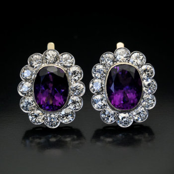 antique Russian amethyst and diamond cluster earrings