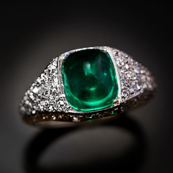 vintage Art Deco sugarloaf emerald diamond platinum ring