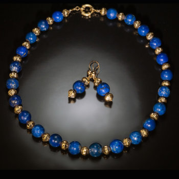 vintage lapis and gold necklace and earrings