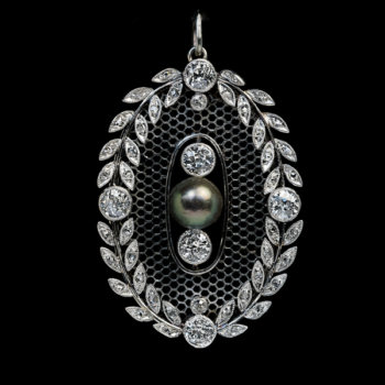 Belle Epoque antique pearl diamond and platinum pendant
