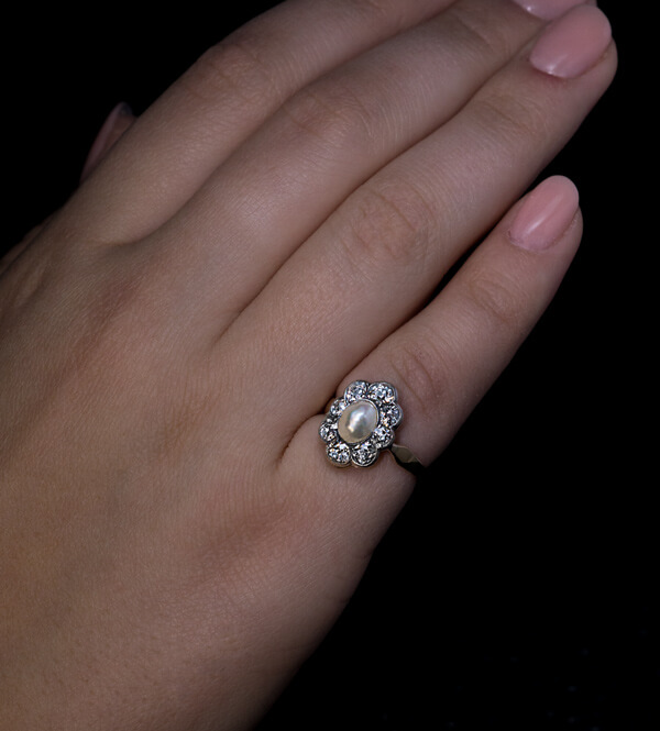 Diamond And Pearl Engagement Rings: Antique Edwardian Pearl And Diamond Engagement Ring