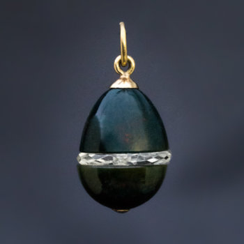 antique bloodstone and rock crystal egg pendant