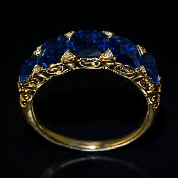 antique ring with 5 sapphires