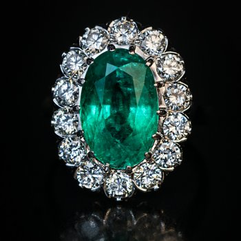 vintage mid-century French 3 ct emerald and diamond engagement ring in platinum and gold
