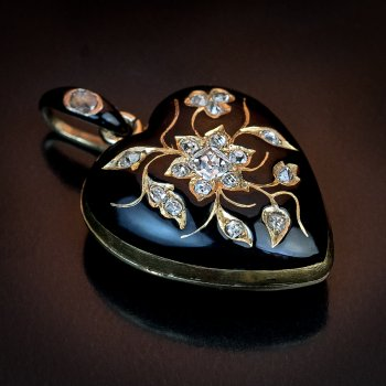 antique heart shaped black enamel, diamond and gold locket pendant