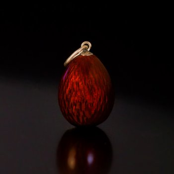 antique Russian red guilloche enamel egg pendant