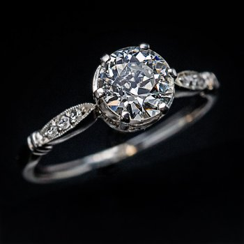 1 carat old European cut diamond engagement ring