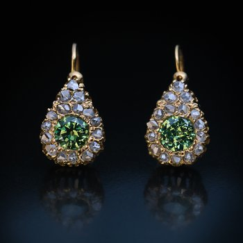 antique Russian demantoid and rose cut diamond earrings