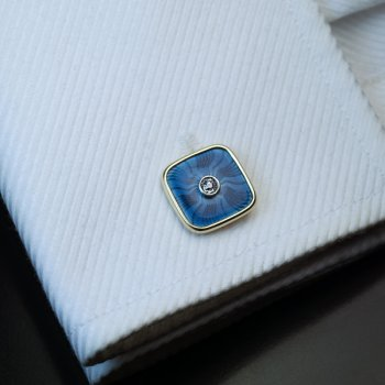 antique Faberge gold, diamond and guilloche enamel cufflinks