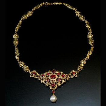antique garnet, pearl, gold necklace