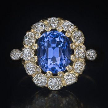 antique 4.15 ct unheated sapphire ring