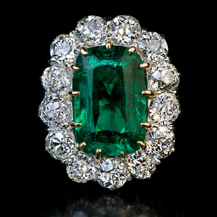 Russian Emerald Diamond Engagement Ring