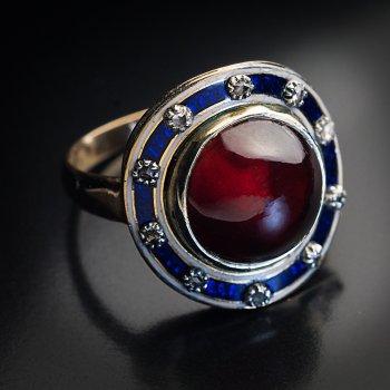 antique Georgian era cabochon cut garnet, enamel, diamond and gold ring - Georgian jewelry 1700s - early 1800s