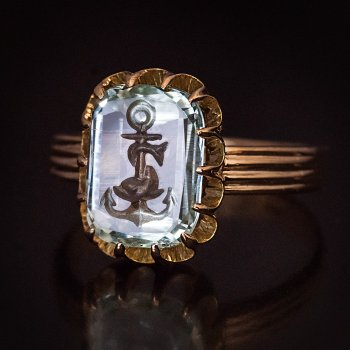 antique aquamarine intaglio ring