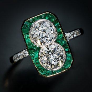 antique Edwardian diamond and emerald engagement ring