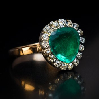antique Georgian era emerald and diamond heart shaped engagement ring