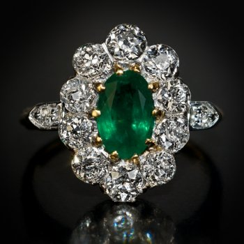 antique emerald and diamond engagement cluster ring