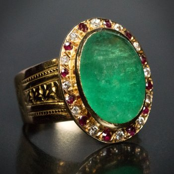 vintage French cabochon cut emerald ring