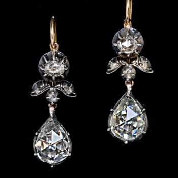 antique old rose cut diamond earrings