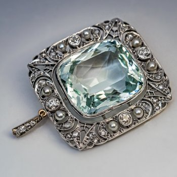 Antique 34.25 ct aquamarine diamond and pearl pendant brooch - Edwardian jewelry