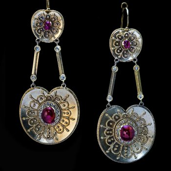 Antique archaeological revival gold filigree earrings with rubies and rose cut diamonds