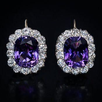 antique Russian amethyst and diamond earrings