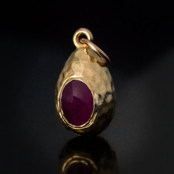 antique Russian ruby and gold egg pendant