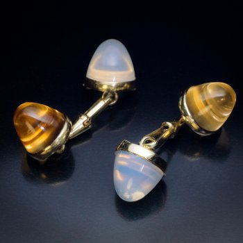 antique moonstone citrine and gold cufflinks