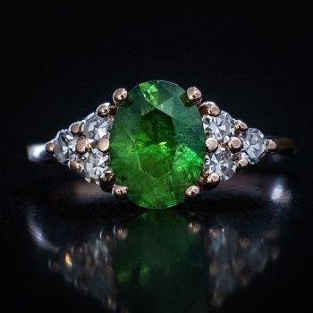 Russian demantoid garnet ring
